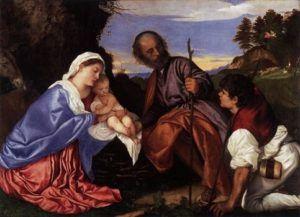 Tiziano - La sacra famiglia con pastore