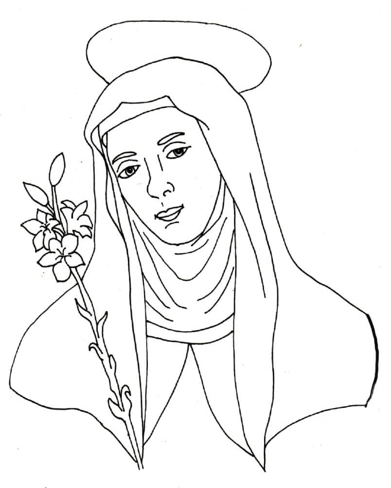 Super ✝ Disegni religiosi da colorare: Santa Caterina da Siena  RL62
